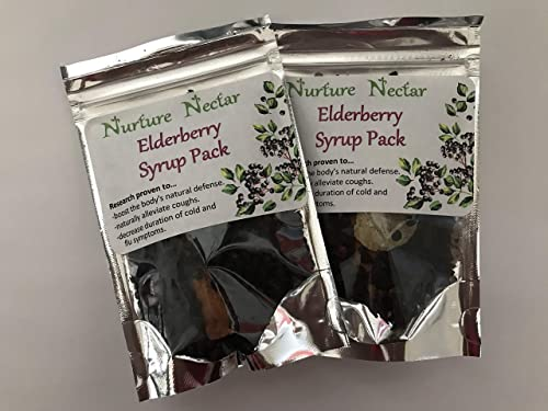 Nurture Nectar Elderberry Syrup Kit - 2 Pack DIY Immune Support. Just add Water and Honey for a Make at Home Syrup. Each kit Makes 10oz.