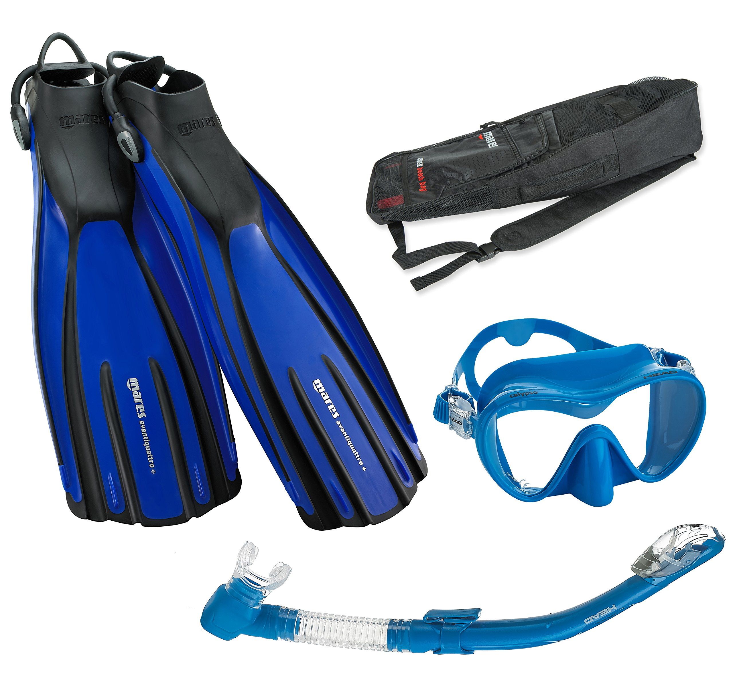 Mares Avanti Quattro Plus Fin Calypso Mask Dry Snorkel Set with Bag, Blue, Small