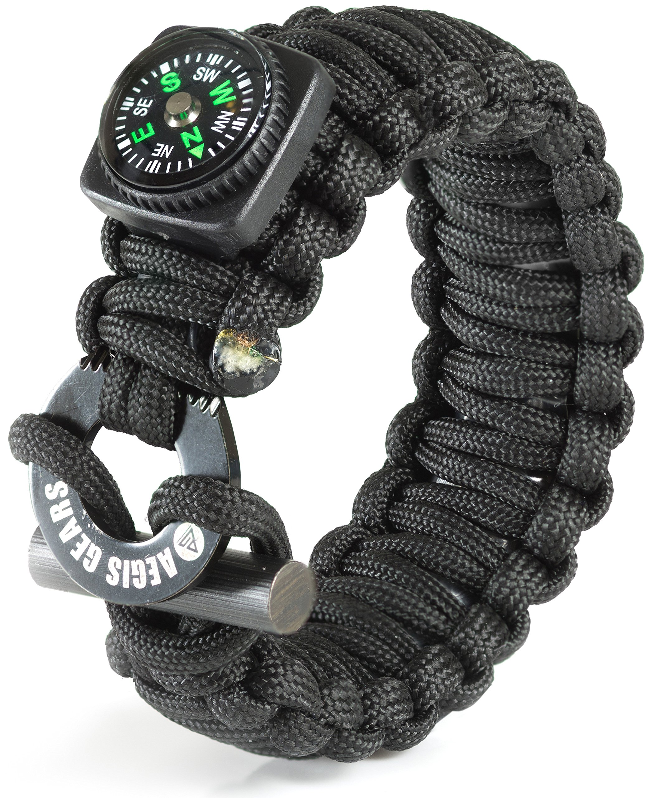Tactical Paracord Bracelet X Series By AEGIS GEARS - Ultimate Emergency Survival Kit - Adjustable Size, Fire Starter, Compass, Fishing Kit, Milspec 550 Paracord & More. EDC Outdoor Camping Gear