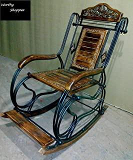 Worthy Shoppee Wooden U0026 Iron Rocking Chair (Multi Color)
