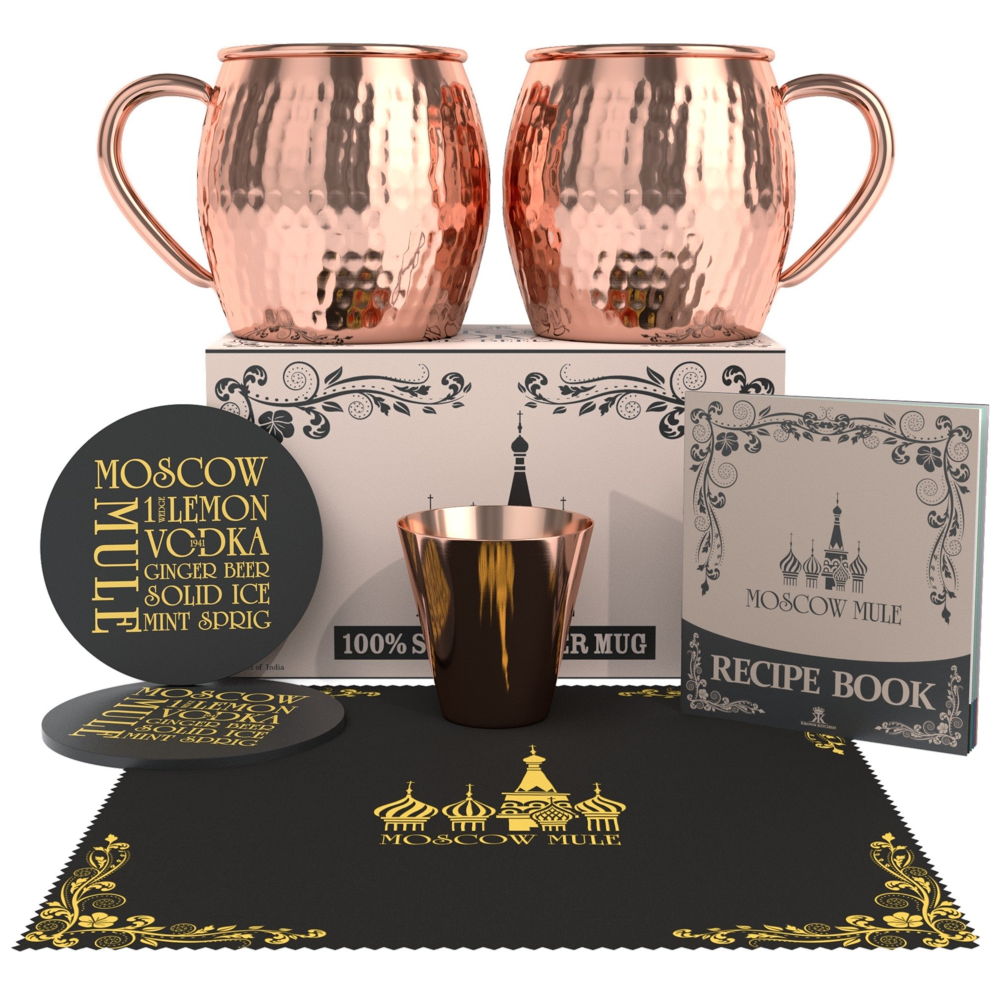 Krown Kitchen - Hammered Moscow Mule Copper Mugs Set of 2 | 100% Solid Copper | 16 oz