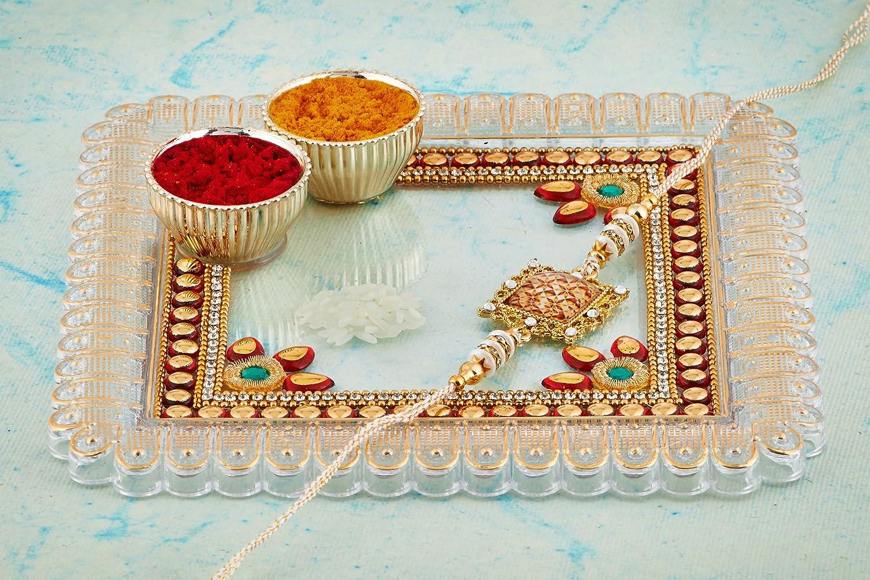 Diwali Pooja Thali Tilak Decorative Platter Set The Indian Storeroom White - Sqaure Multi Round Thali Laxmi//Ganesh Pooja Hindu Puja 10