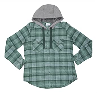 Columbia Canyon Point II Athletic Drawstring Hoodie Button Front Shirt