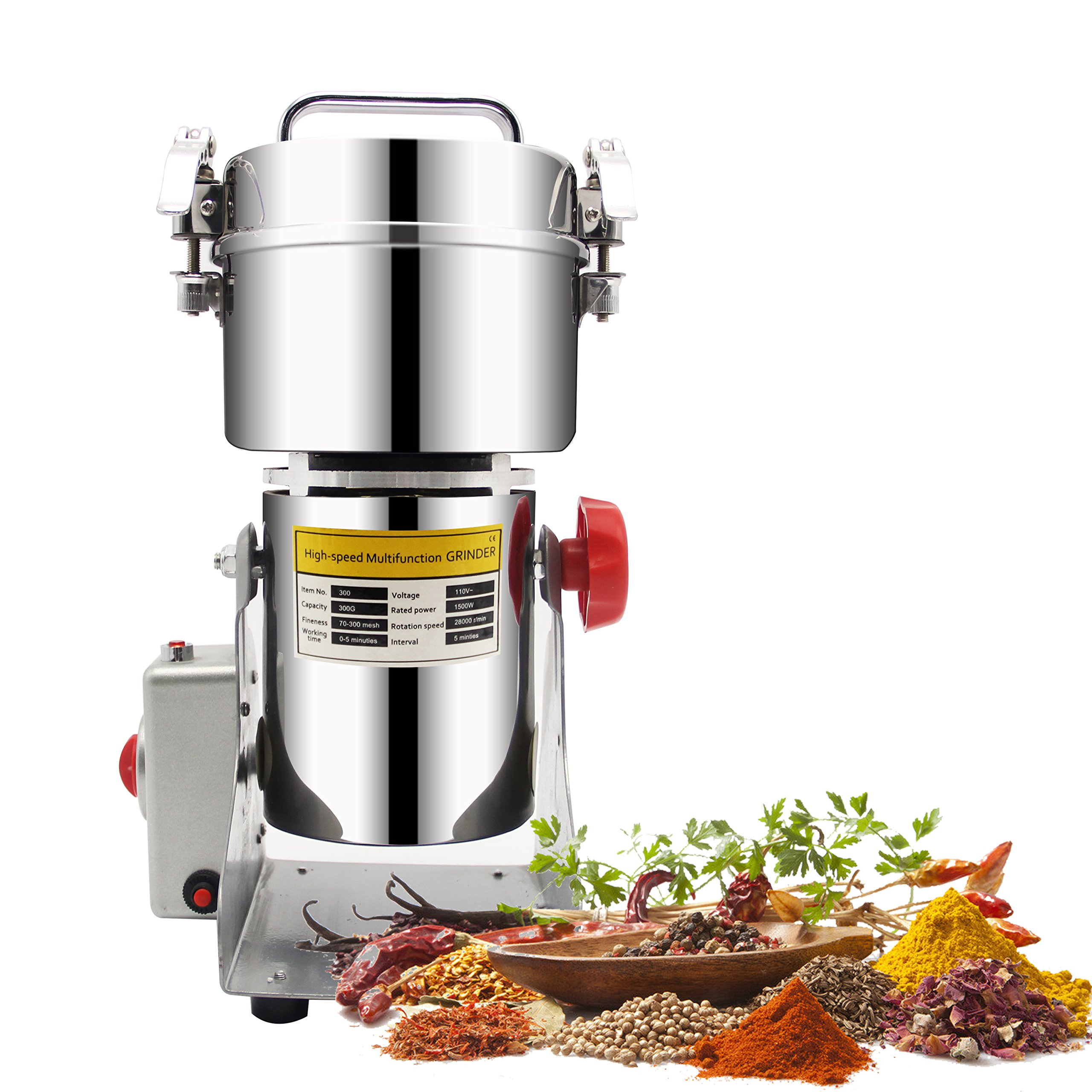 CGOLDENWALL 300g Stainless Steel Electric High-speed Grain Grinder Mill Family Medicial Powder Machine Commercial Cereals Grain Mill Herb Grinder Pulverizer Gift for mom, wife by CGOLDENWALL