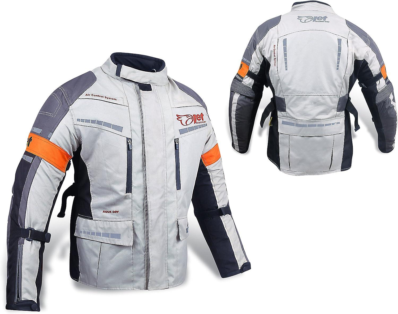 2XL 44-46 Jet Mens Black//Fluro Textile Motorcycle Motorbike Jacket Waterproof CE Armoured