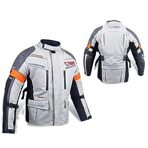Veste de moto renforcée pour Homme Textile imperméable Homologué CE Argenté/gris , femme Homme, X Large (42