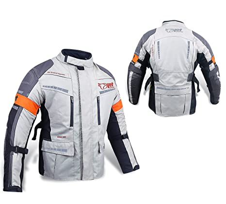 40bfc57f578 Jet Chaqueta Moto Hombre Textil Impermeable con Armadura Gris Plateado