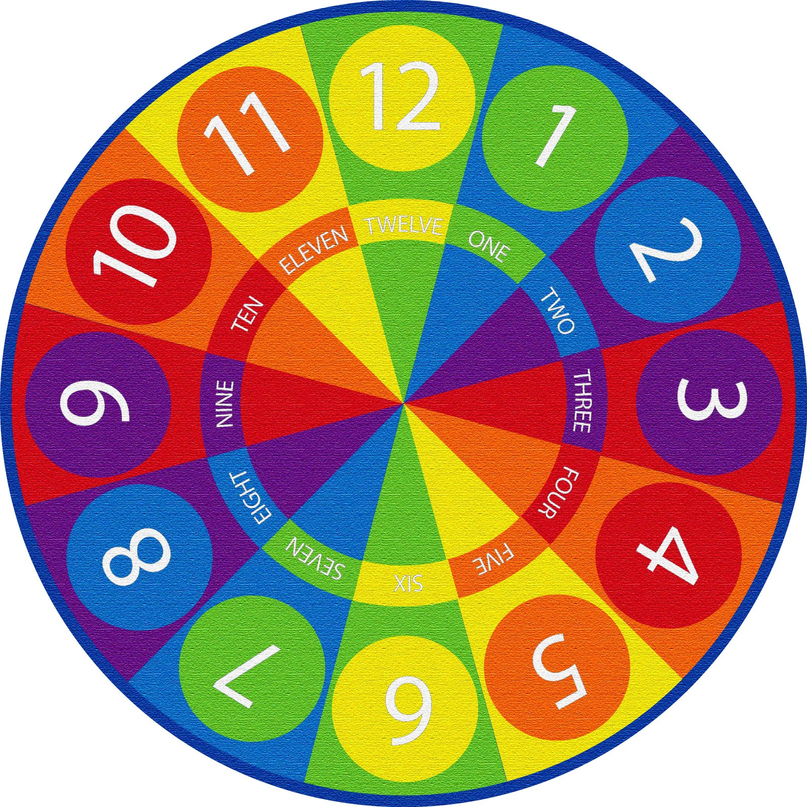 ECR4Kids Tick-Tock Clock Educational Circle Activity Rug for Children, School Classroom Learning Carpet, Round
