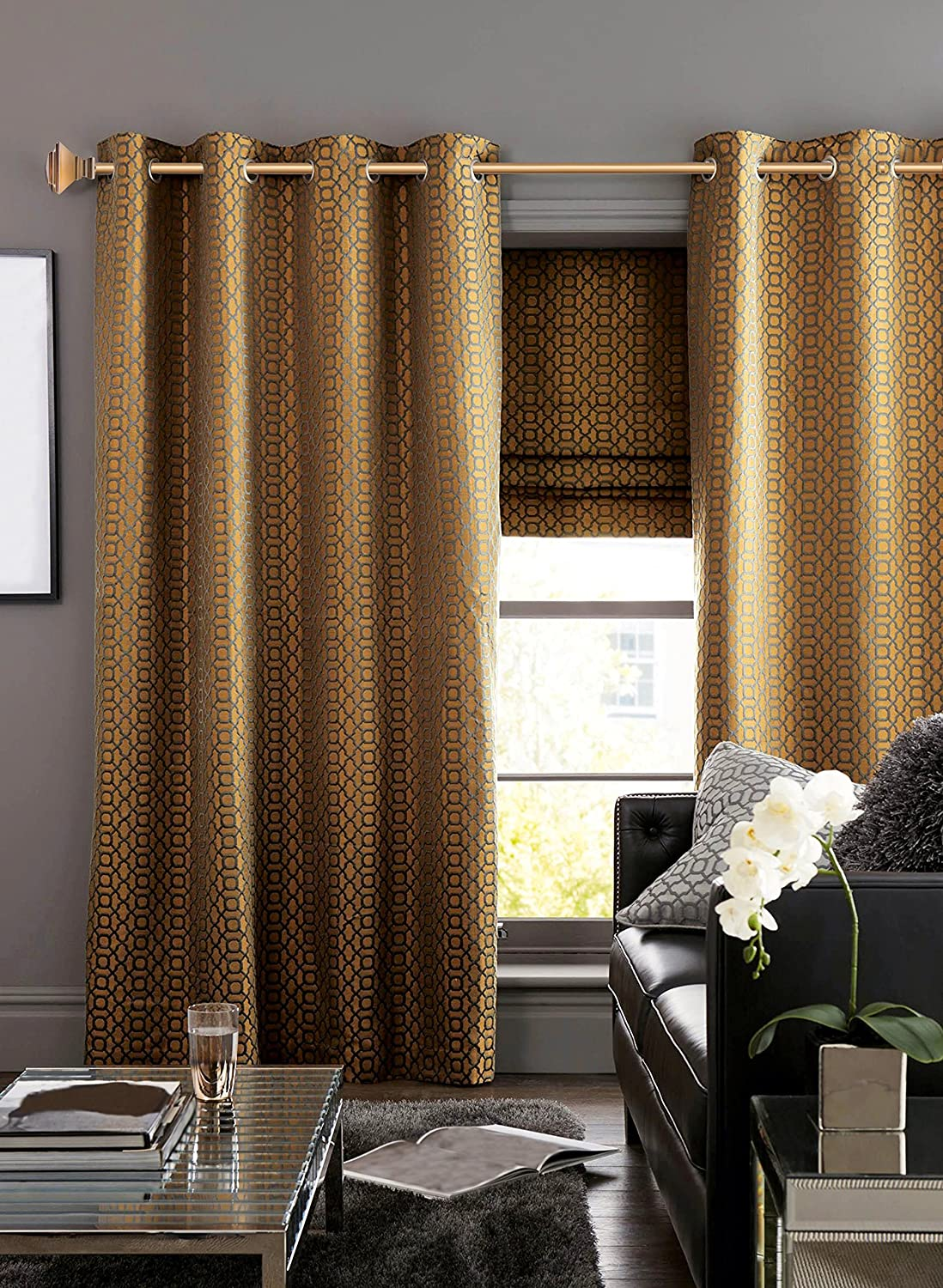 Amazon.com: Sheffield Home Pyramid in Warm Gold, Curtain Rod by, AMG ...
