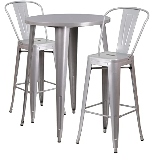 Flash Furniture 30 Round Silver Metal Indoor-Outdoor Bar Table Set with 2 Cafe Stools