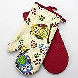 """Originelle Küchen-Serie """" Vergnügte Eulen """" - zur Auswahl : Topflappen oder Backhandschuhe , wunderschönes farbenfrohes Eulen - Motiv - hochwertig , mit Baumwolle , eine schöne kleine Geschenk - Idee - ein MUSS für alle Eulen-Fans - NEU aus dem KAMACA-SHOP (2 x Backhandschuhe ( = 1 Paar))"""