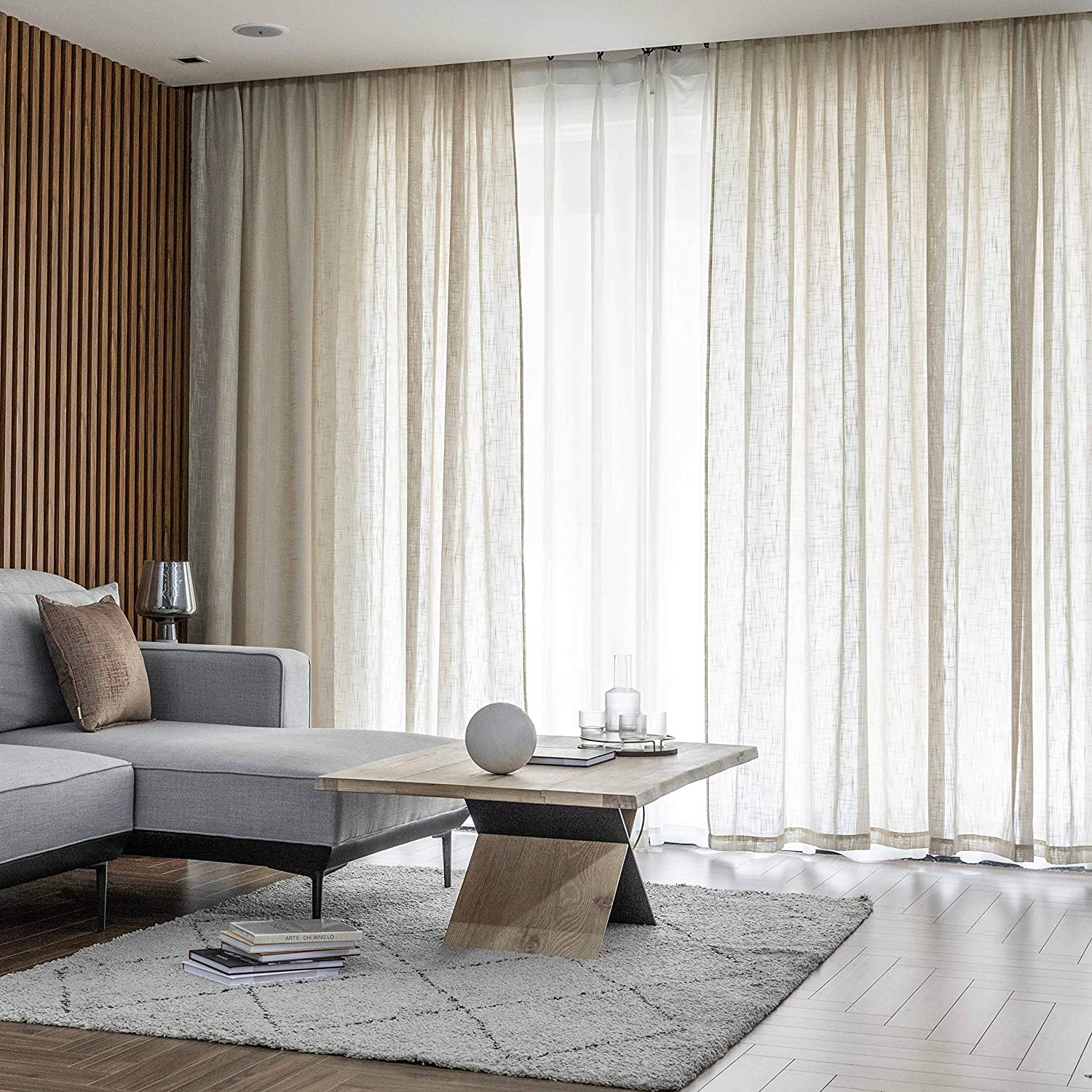 Home Brilliant Semi Sheer Curtains Panel Voile Window Curtains for Living Room Nursery, Set of 2, 54 x 63 inch, Linen