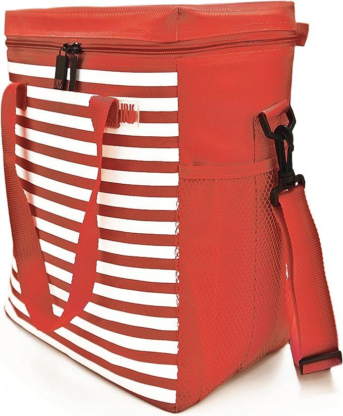 Rojo y Blanco Tela 33x14x26 cm IRIS Summer Bolsa Nevera