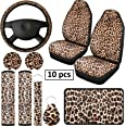 10 Pieces Leopard Print Car Decorations, Includes Leopard Front Seat Covers, Steering Wheel Cover, Leopard Car Coasters, Armr