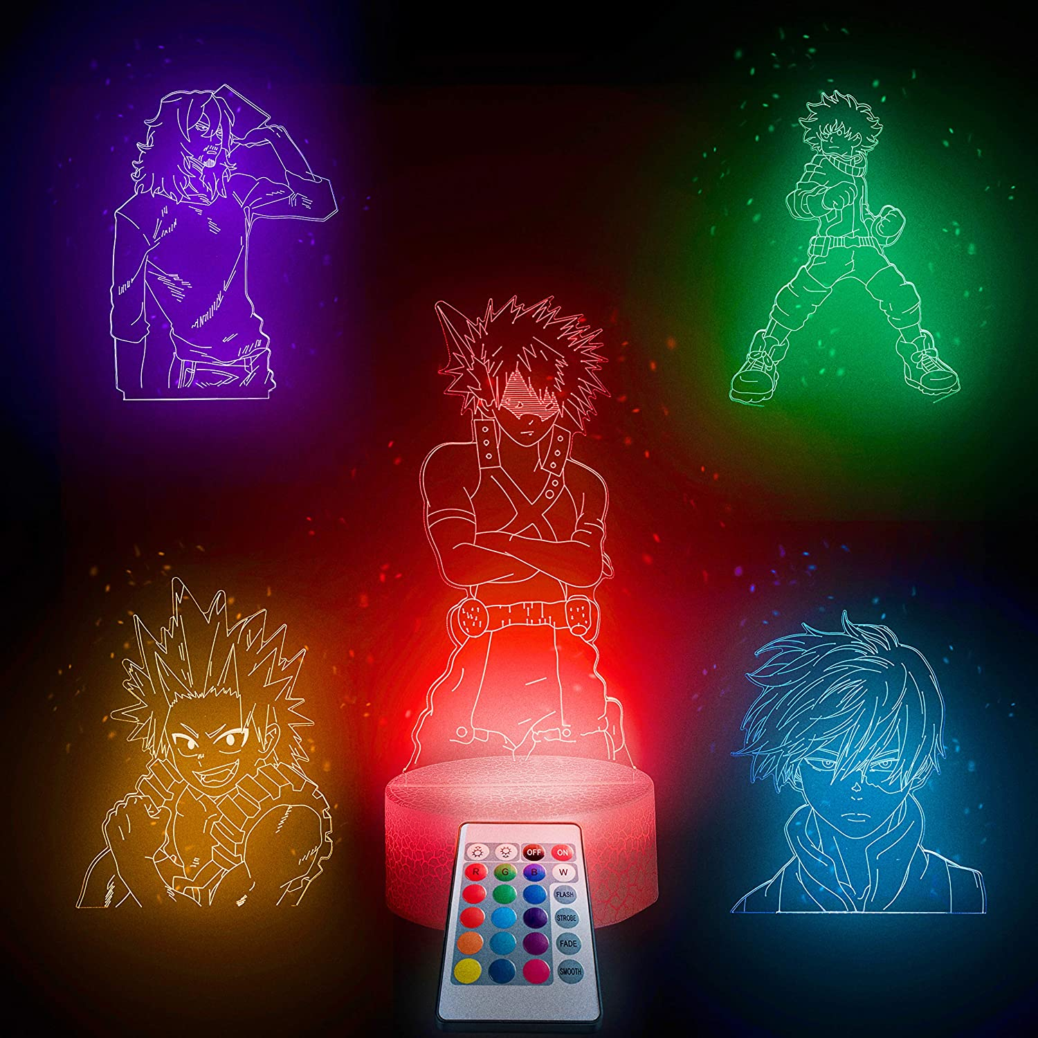 Trendy Home & Garden Hero Academia Collection-5in1-3d Led Night Light for Boys Girls Kids -Touch, Remote Color Changing Nightlight