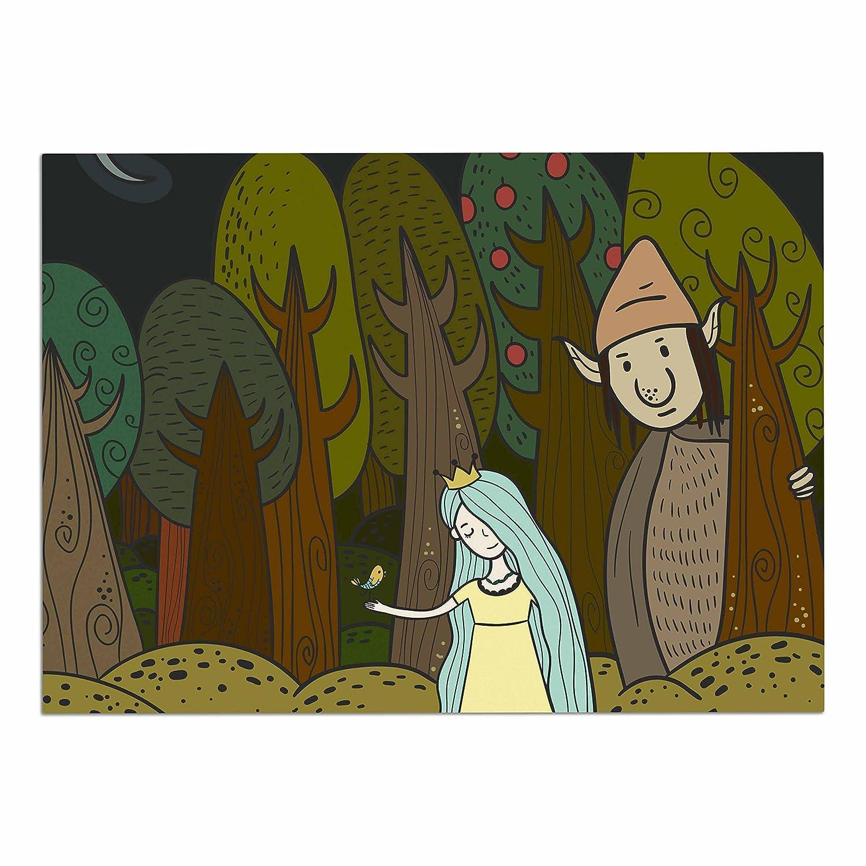 KESS InHouse MF1005ADM02 Petit Griffin Enchanted Forest Green bluee Dog Place Mat, 24  x 15
