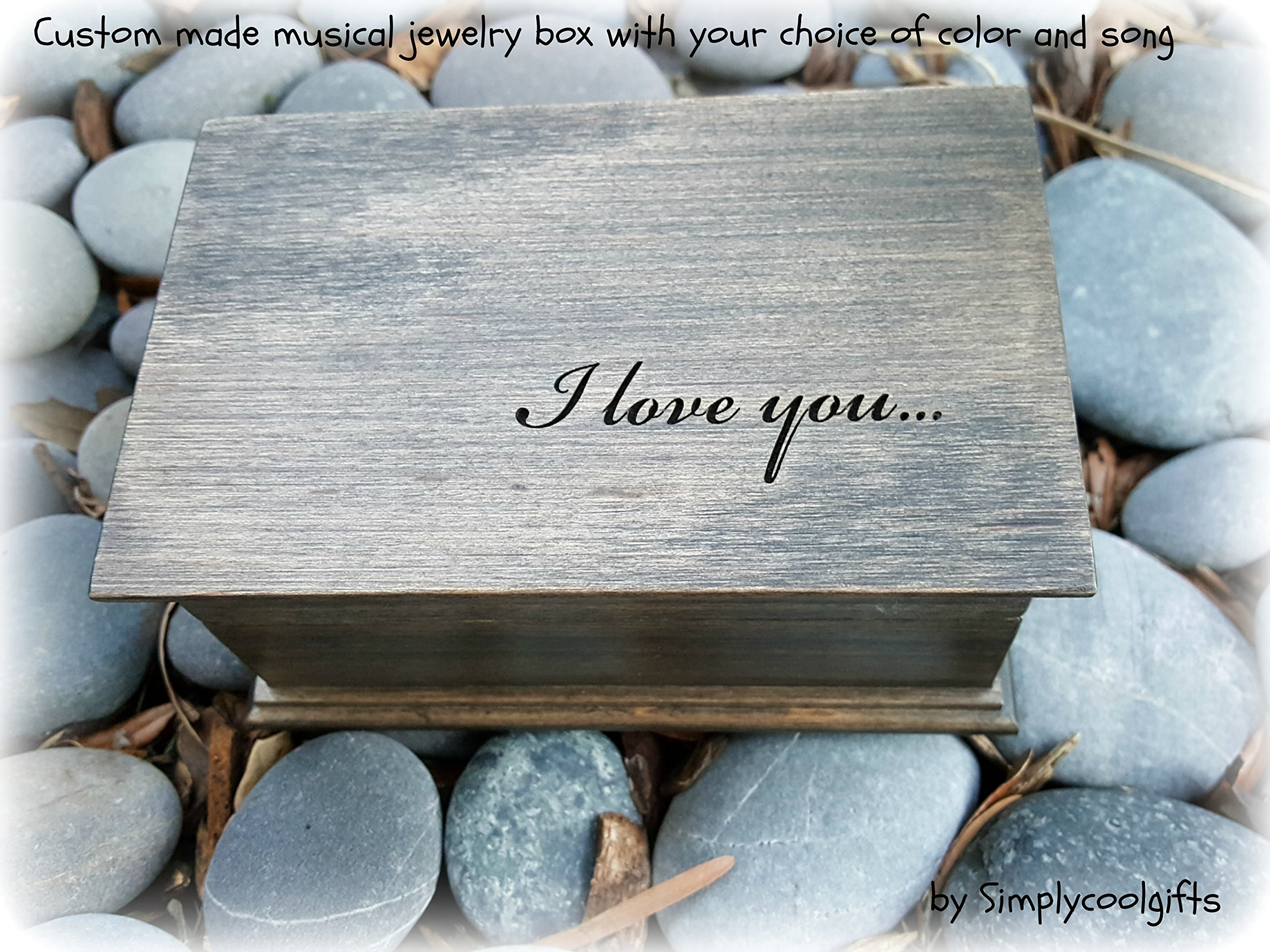 Personalized musical jewelry box with I love you engraved on top, gift for love, great gift for fifth anniversary handmade by Simplycoolgifts by Simplycoolgifts