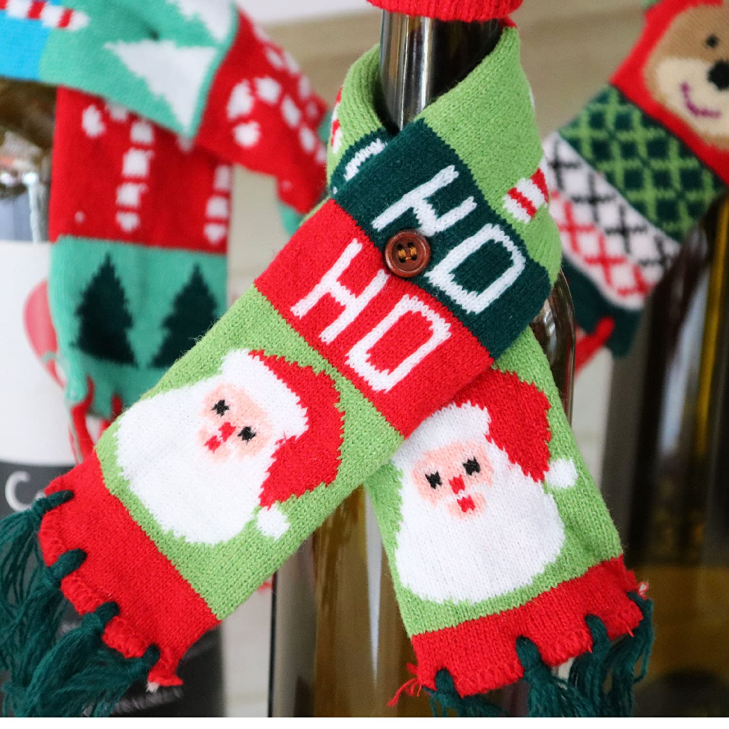 Amazoncom Christmas Wine Bottle Cover Decorations Gifts [Santa Claus +