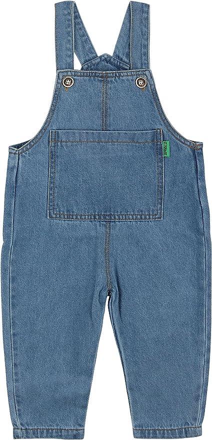 Kinder unisex Jeans Latzhose Thermo 80 86 92 blau Flanellfutter Baumwolle