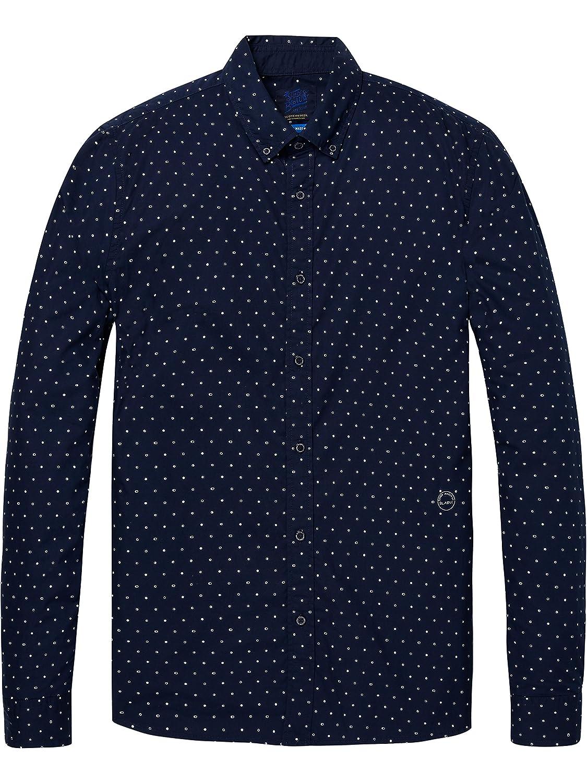 Scotch & Soda Men's AMS Blauw Slim Fit Shirt 147424