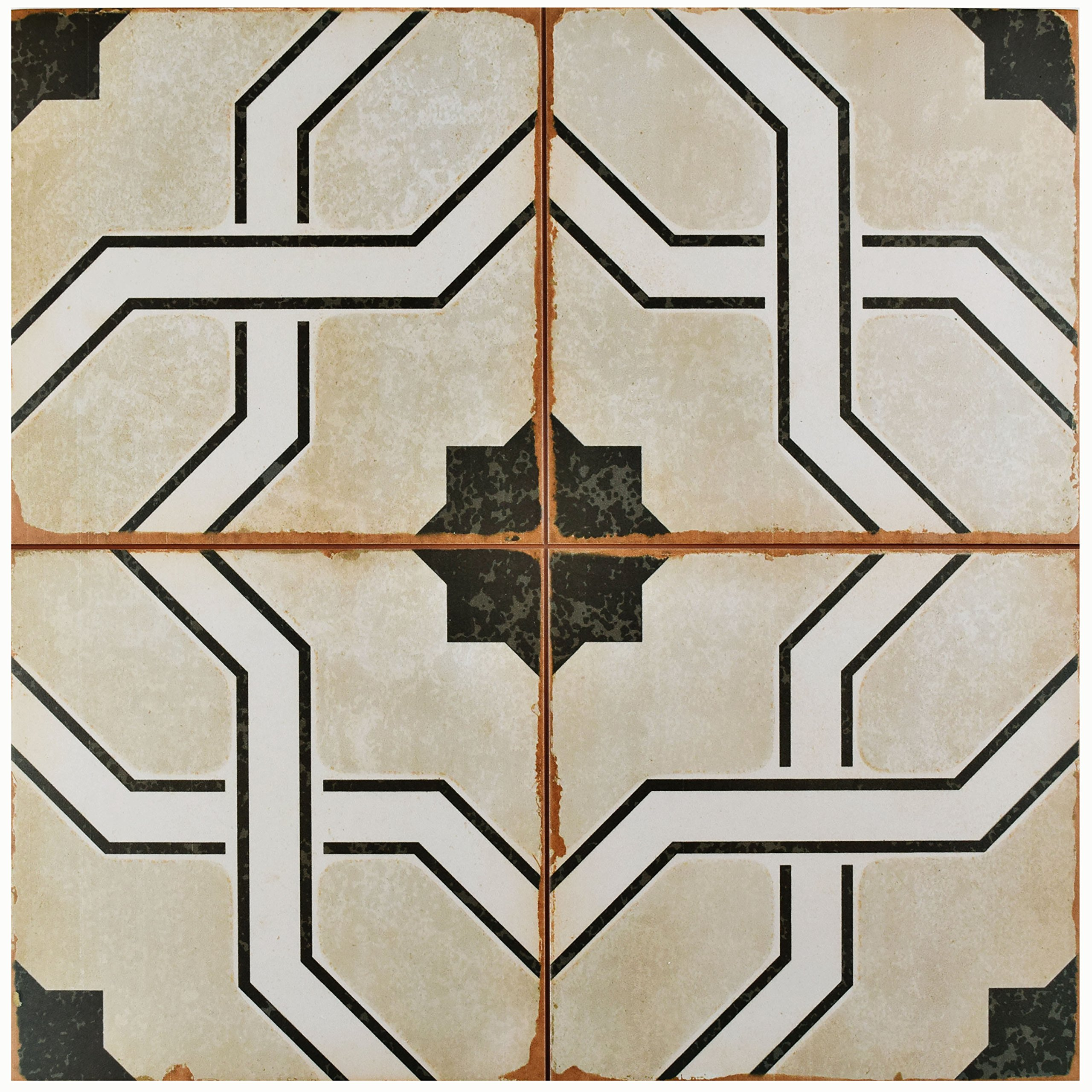 SomerTile FPECORDO Argentina Ceramic Floor and Wall Tile, 17.625'' x 17.625'', Beige/Brown/White/Black