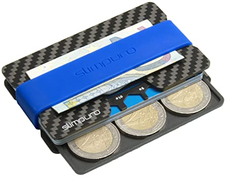 codice promozionale 3ab66 19a0e slimpuro Porta carte di credito in carbonio, portabanconote e monete | anti  RFID NFC | Multiplo 16 scomparti | Mini e tascabile