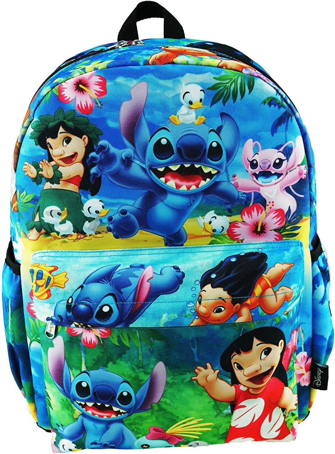 """Lilo And Stitch Deluxe Oversize Print Large 16"""" Backpack with Laptop Compartment - A19563"""