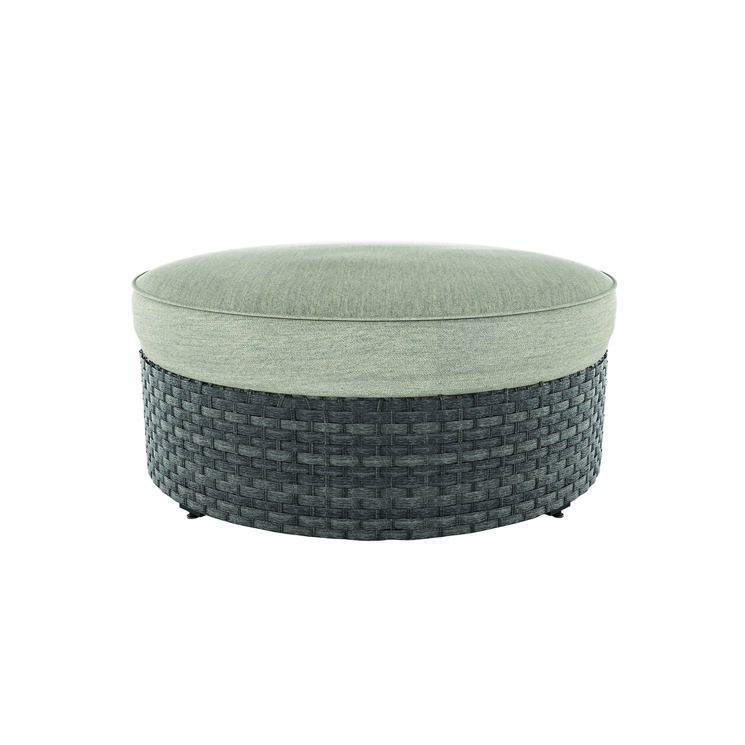Ashley Furniture Signature Design - Spring Dew Outdoor Ottoman with Cushion - Gray