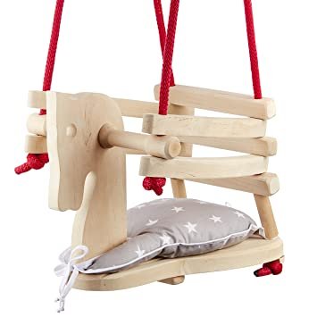 Baby Toddler Natural Wood Horse Figure Safety Swing Seat Chair