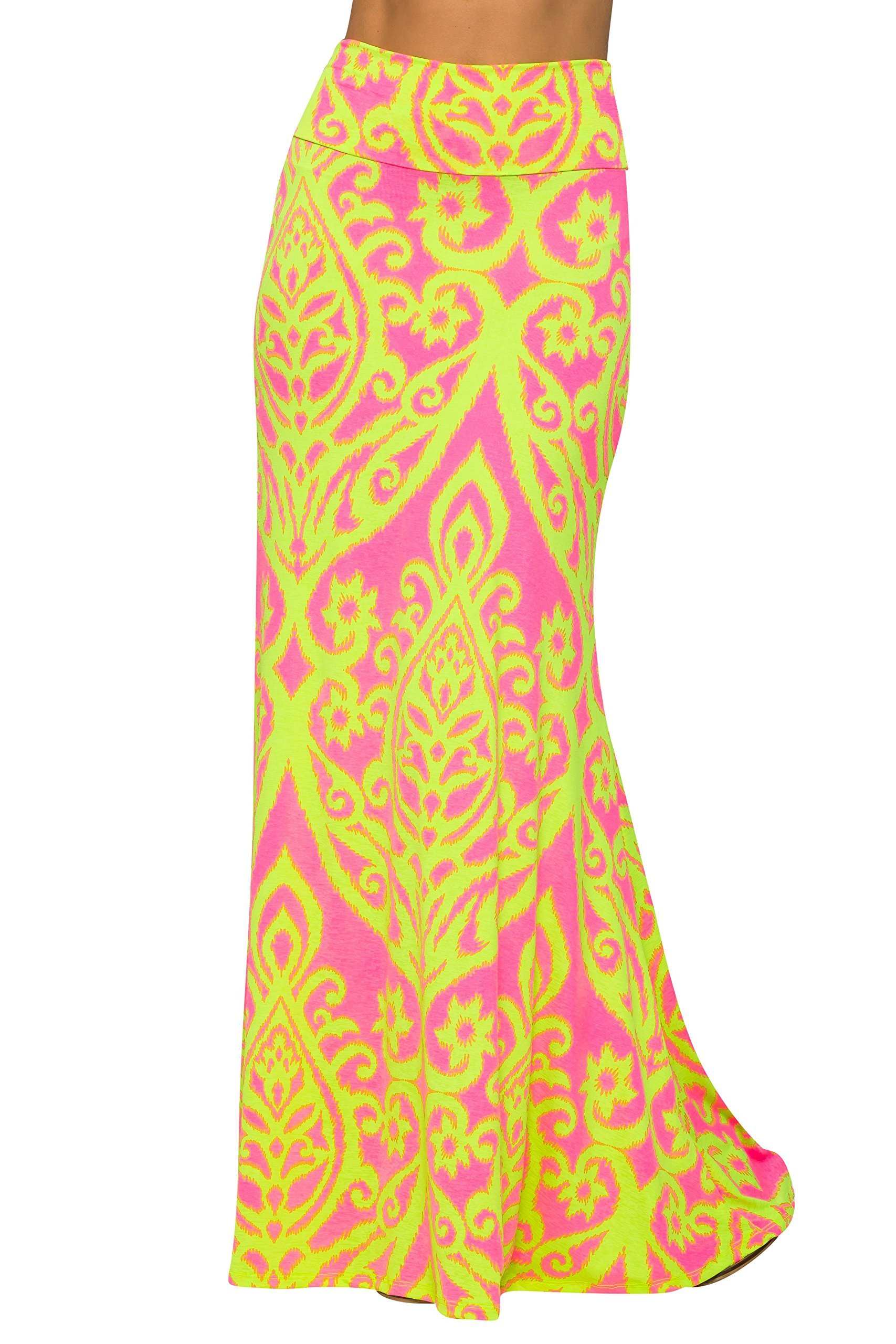 Junky Closet Women's Foldover High Waisted Floor Length Maxi Skirt (3X-Large, Damask 222 Neon Pink)