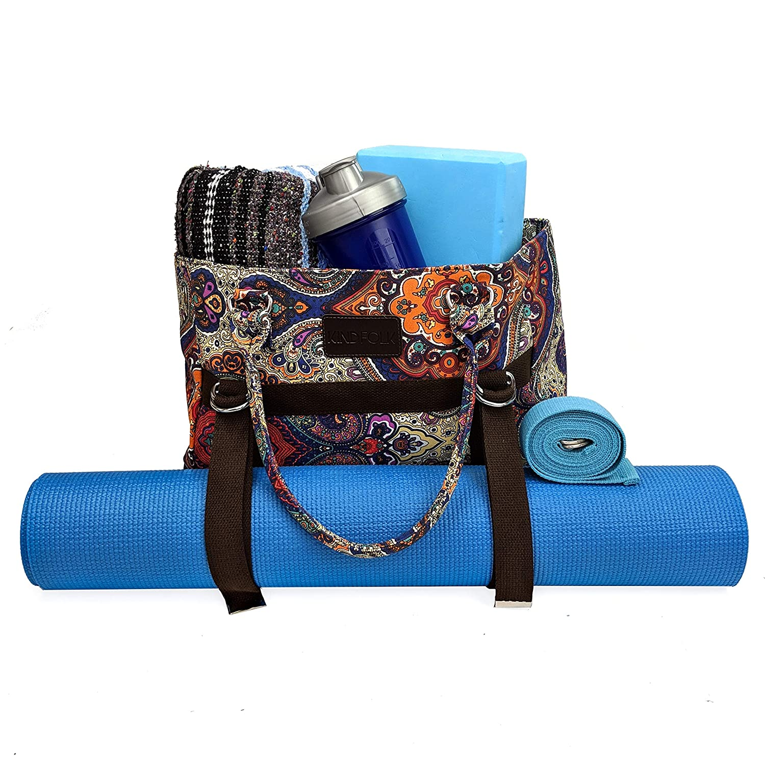 Kindfolk Yoga Mat Bag Tote Carrier with Three Pockets and Zipper Top