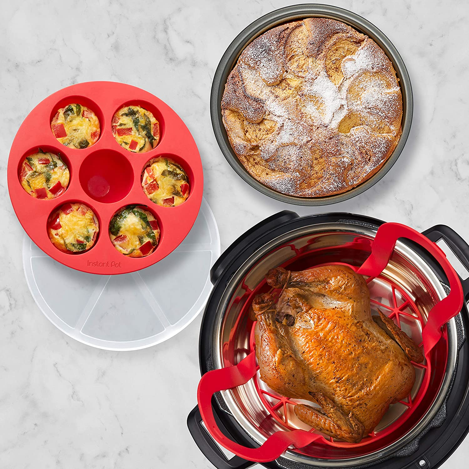 Instant Pot Official Cooking and Baking Set, Fits 6QT/8QT Electric Pressure Cooker and Duo Crisp Air Fryer Lid Combo, 5-Piece, Multicolored