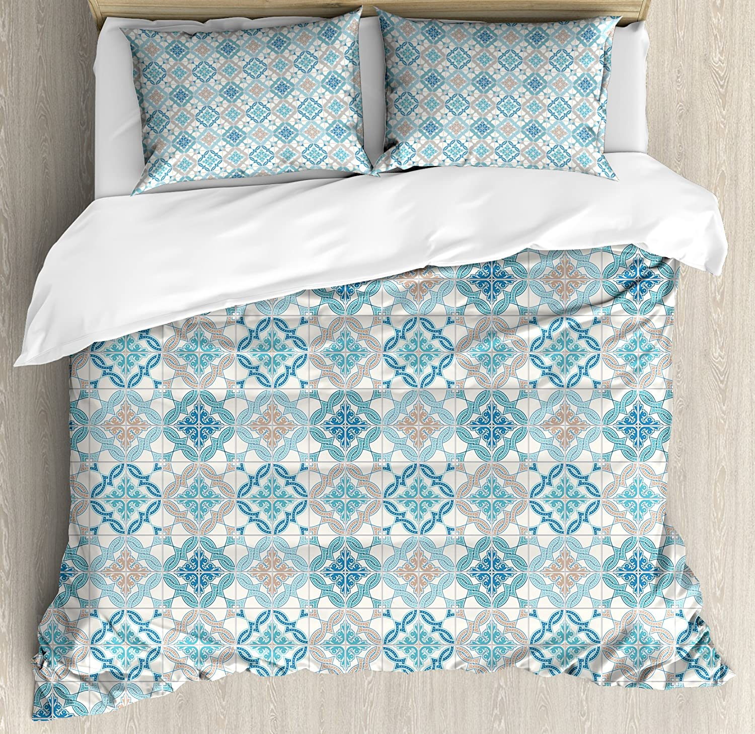 Ambesonne Quatrefoil Duvet Cover Set Tangled Modern Lisbon Pattern Based On Traditional Oriental Tiles Decorative 3 Piece Bedding Set With 2 Pillow Shams Queen Size Blue Tan White Home Kitchen