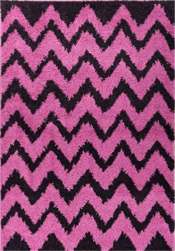 Well Woven Madison Shag Passion Chevron Fuchsia Modern Area Rug 6 7 X 9 10