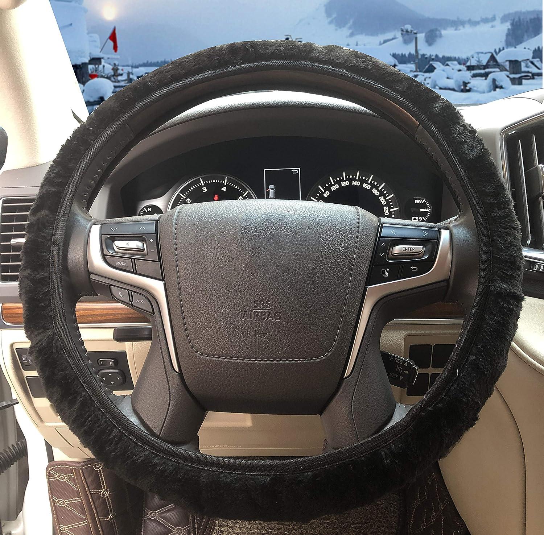 Anti-Slip Black Odorless Keep Warm ZHOL Universal 15 inch Steering Wheel Cover Elastic Plush Breathable