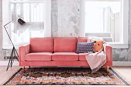 edloe finch albany park mid century modern pink velvet sofa blush pink - Pink Velvet Sofa