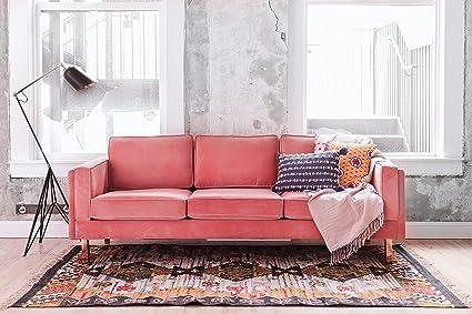 Genial Edloe Finch Albany Park Mid Century Modern Pink Velvet Sofa, Blush Pink