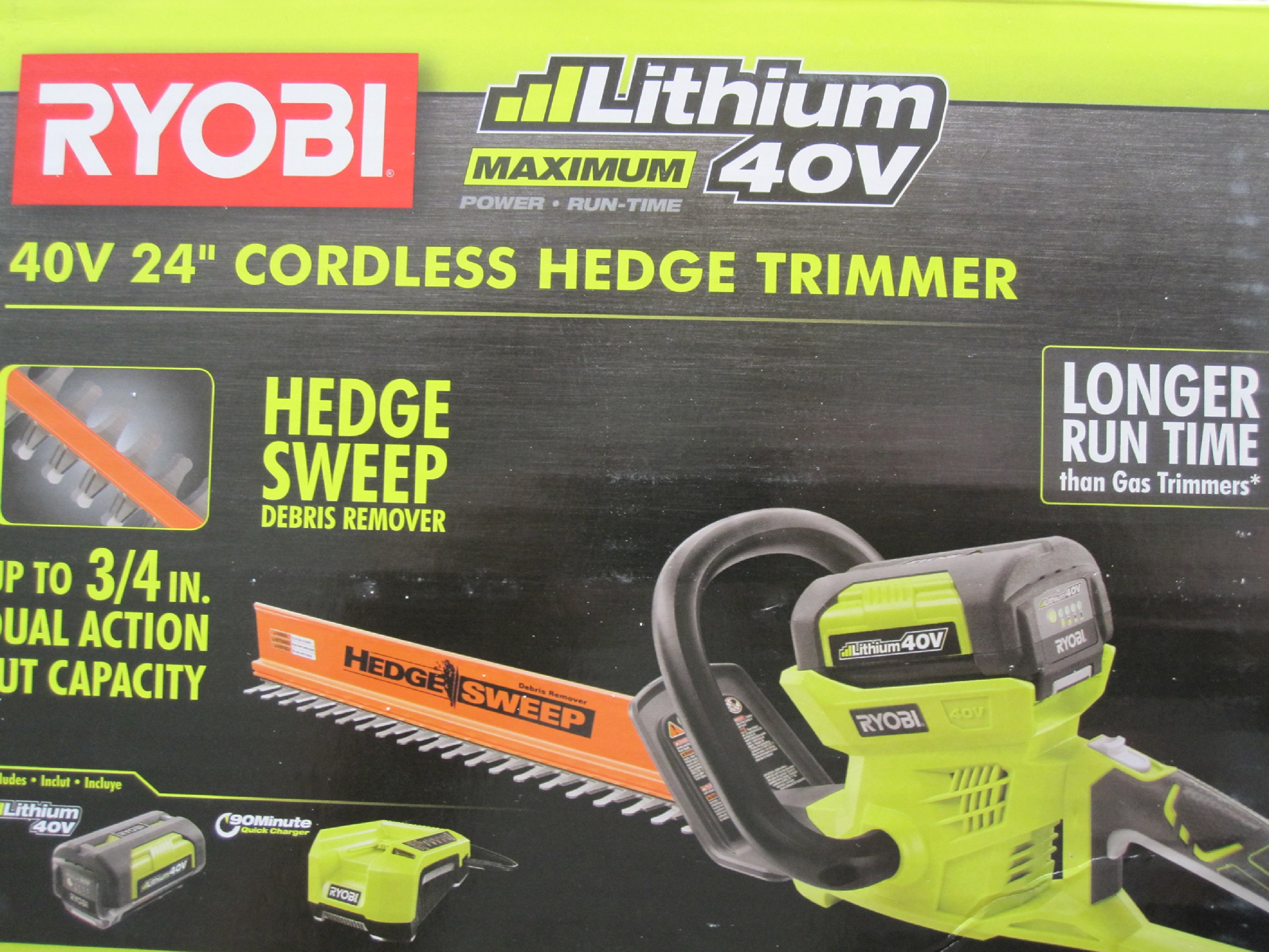 Ryobi 40-Volt Cordless Hedge Trimmer 24'' includes Lithium-Ion Battery plus Charger