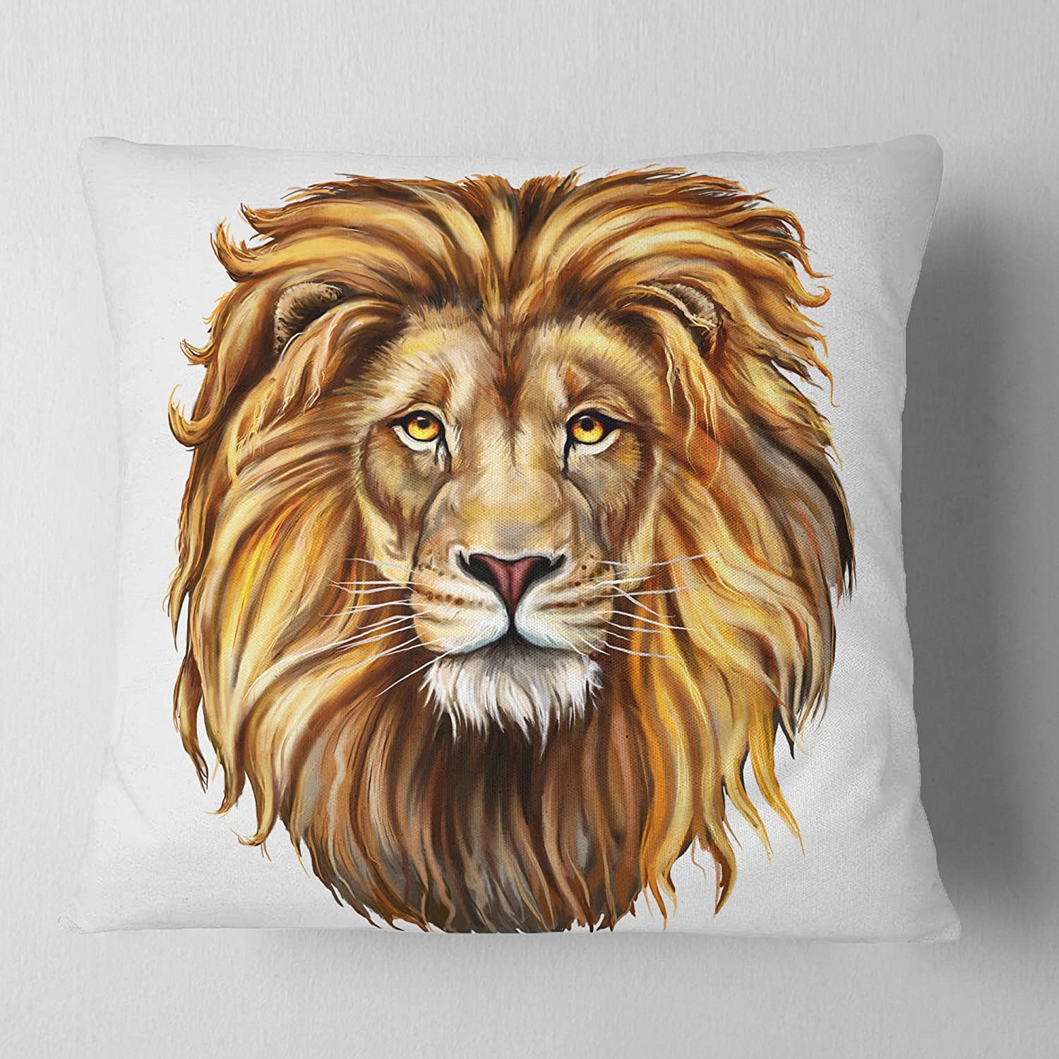 Designart CU6182-18-18 King Lion Aslan Animal Cushion Cover for Living Room Sofa Throw Pillow 18 in x 18 in in