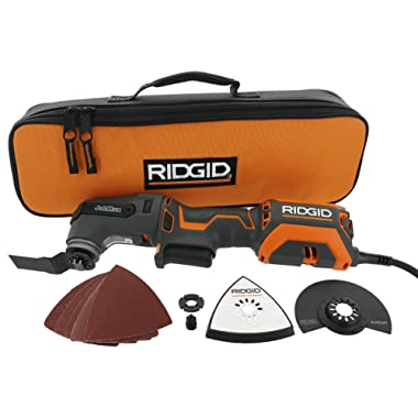 """Ridgid R28602 JobMax 4 Amp Corded Multi Tool with Replaceable Heads (Sander Head, Sanding Pads, Crescent Saw and 1 1/8"""" Wood Cutting Blade Included)"""