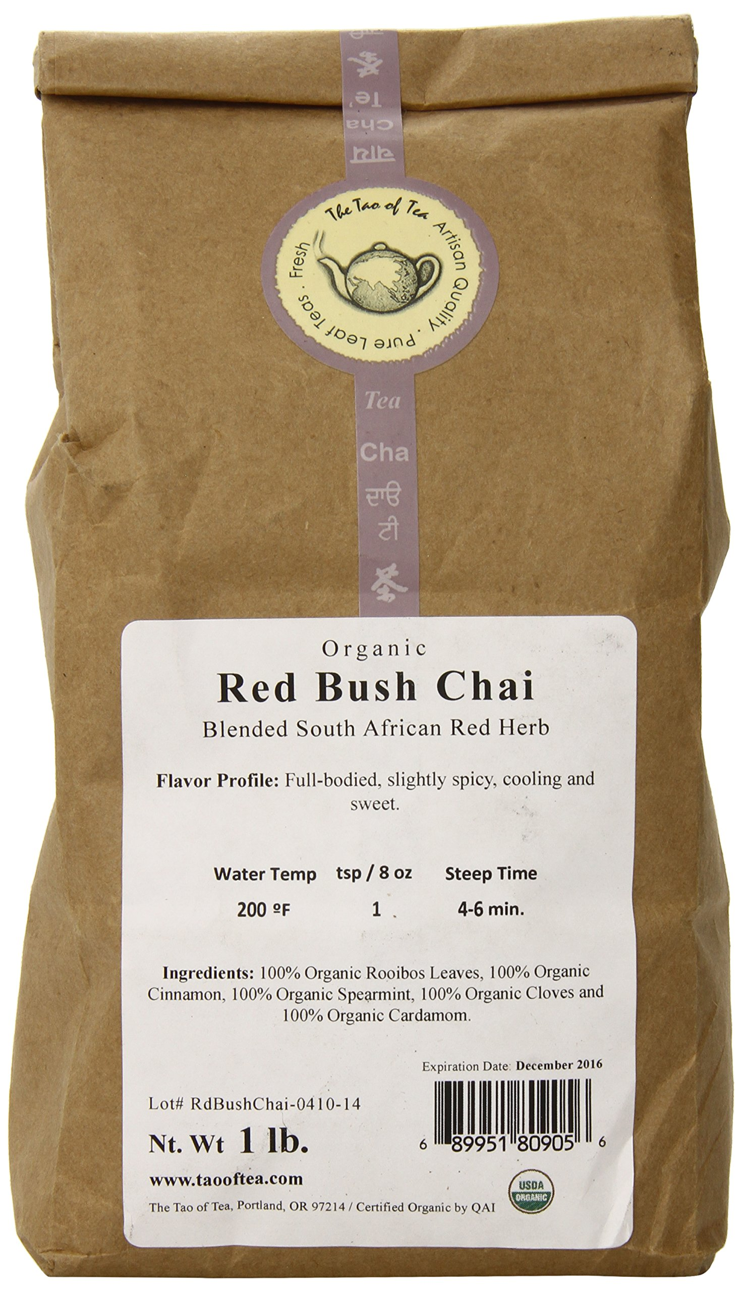 The Tao of Tea Red Bush Chai, 100% Organic Rooibos Chai, 1-Pound