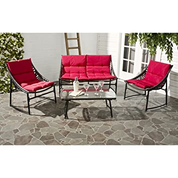 Safavieh 4 Piece Outdoor Collection Berkane Patio Set, Brown And Red