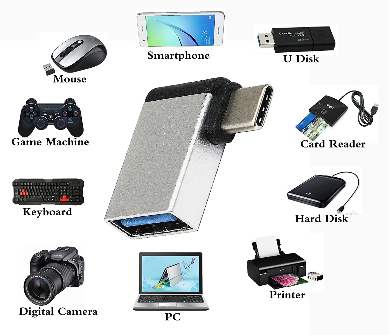 Samsung OTG Huawei ChromeBook Pixel y dispositivos con USB C Gris,2 Unidades Rampow Adaptador USB Tipo C a USB 3.1 Aluminio Adaptador -Garant/ía de por Vida- Compatible para MacBook Pro 2016//2017