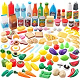 JOYIN 135 Pieces Kids Play Food Set, Value Pretend Food for Play Kitchen with Fruit, Vegetable, Food Can, Dessert, Tableware,