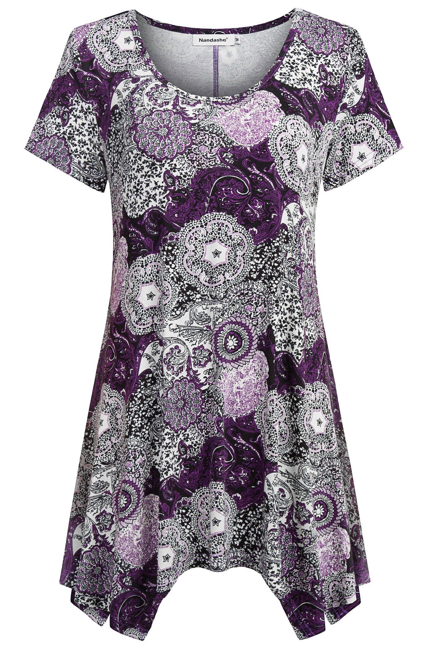 Nandashe Tunics for Leggings for Women, Single Women Short Length Sleeves Multicolor Round Neck Soft Comfoy Pullover Sweaters Bohemian Shirts Purple XXL