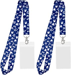 Cruise Lanyard [2-Pack] Lanyards with ID Holder for Cruise Ship Key Cards (Blue Nautical) - Essentials & Must Have Accessories by Cruise On