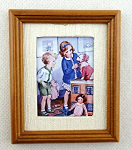 Melody Jane Dolls Houses House Miniature Accessory The Playroom Picture Painting in Walnut Frame