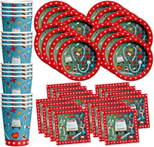 Medical- Doctor & Nurse Birthday Party Supplies Set Plates Napkins Cups Tableware Kit for 16