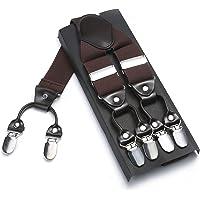 Men braces Men suspenders EZPZLife Y shape with 6 clips adjustable and elastic suspenders durable mental clips- Heavy duty