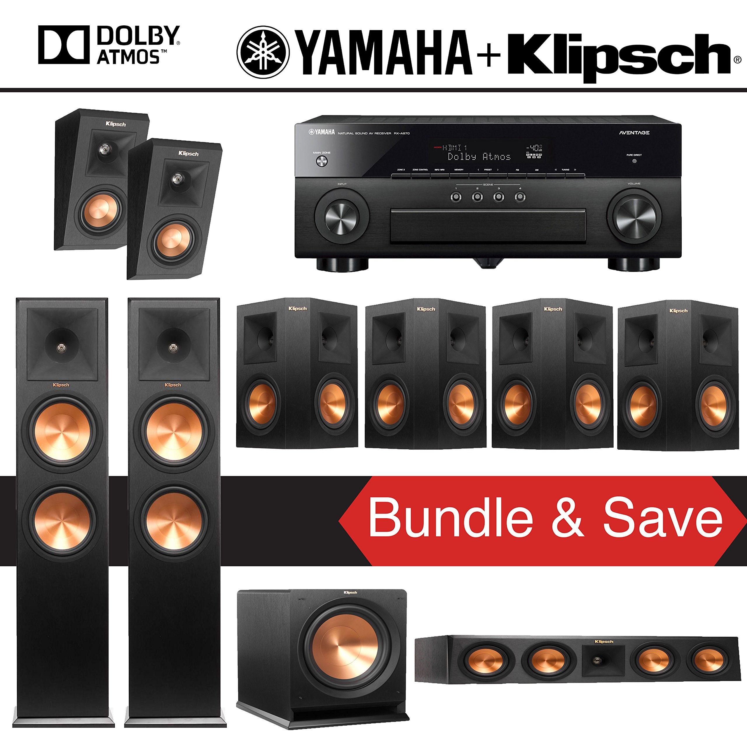 Klipsch RP-280F 7.1.2-Ch Reference Premiere Dolby Atmos Home Theater System with Yamaha AVENTAGE RX-A870BL 7.2-Channel Network AV Receiver by Klipsch